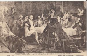 Philippoteaux Last banquet of Girondins Longchamp Museum Marseille art postcard