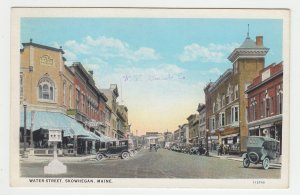 P2036 old postcard many old cars stores etc water street skowhegan maine