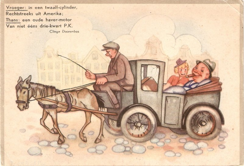 Couple romance. Travellin on horse car Humorous vintage PC. Continental size