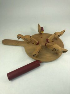 Vintage Pecking Chicken Primitive Wood Paddle Toy