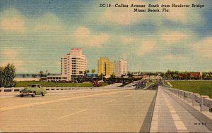 Florida Miami Beach Collins Avenue Looking South From Haulover Canal 1952 Cur...