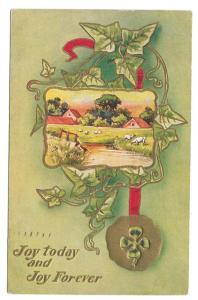 Shamrock Four Leaf Clover Farm Scene Ivy Joy 1912 Embossed