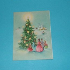 Vtg 1940's Christmas Card TOWER Tree Candles Victorian Carolers Family #101
