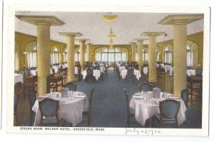 Greenfield MA Weldon Hotel Dining Room Postcard