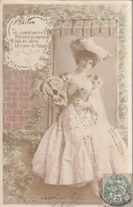 Beautiful Marquise wearing elegant gown & hat, 1900-10s