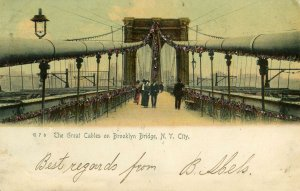 1905 THE GREAT CABLES ON BROOKLYN BRIDGE*NEW YORK CITY*ROTOGRAPH CO*GLITTER