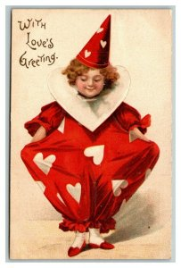 Vintage Early 1900's Postcard Love's Greeting Clown Hearts Clapsaddle POSTED