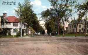 Maine Bangor Birch Street From State 1915 Curteich