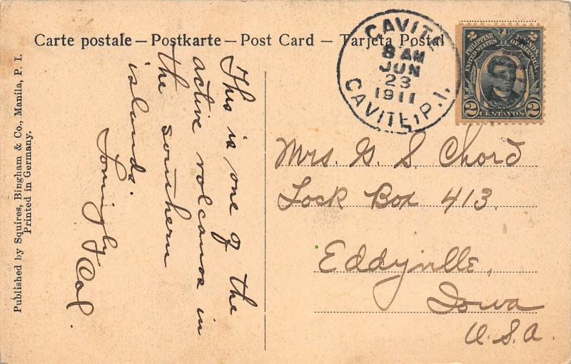 Mayon Volcano, Philippine Islands, U.S.A., Early Postcard, Used in 1911