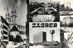 Vintage 1962 Real Photo Multi View Postcard, ZAGREB, Yugoslavia, Jugoslavia 43R