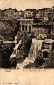 CPA TIVOLI Ponte Gregoriano con cascate ITALY (545517)