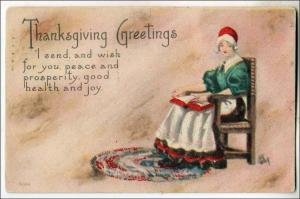 Thanksgiving, Pilgrim Lady in a Chair