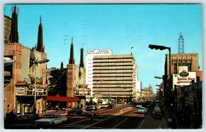 Postcard c1950 Hollywood Blvd. Calf. street View Old Cars A9