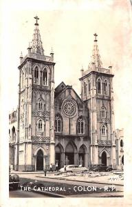 Panama Old Vintage Antique Post Card The Cathedral Colon Unused