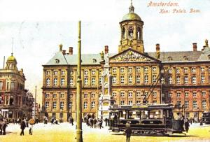 Postcard c1900 TRAM outside Royal Palace Amsterdam Reproduction Card