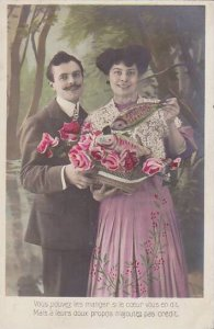 1er Avril April Fool's Day Romantic Couple With Basket Of Fish 1908