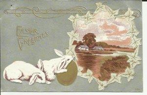 Easter Greetings Bunnies Embossed