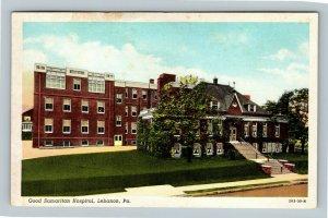 Lebanon PA, Good Samaritan Hospital, Vintage Pennsylvania Postcard