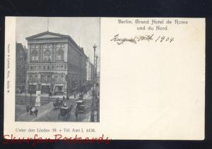 BERLIN GRAND HOTEL DE ROME UND DU NORD GERMANY 1904 ANTIQUE VINTAGE POSTCARD