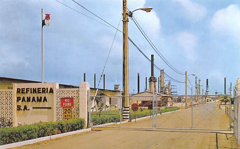 Panama Old Vintage Antique Post Card Refineria Panama Large Oil Refinery Tape...