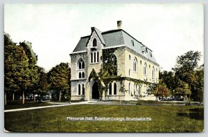 Brunswick Maine~Bowdoin College Campus~Memorial Hall~2nd Empire~c1910 Postcard