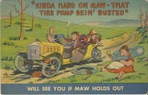 Vintage Linen Postcard Comical Kinda Hard on Maw - That Tire Pump Bein' Busted