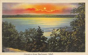 Buchanan Michigan~Sunset Over St Joseph River~Red Clouds~1940s Linen Postcard