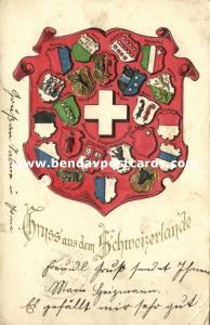 switzerland, Gruss aus dem Schweizerlande, Coat of Arms (1902) Embossed