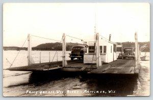 Merrimac Wisconsin~Ferry Boat Landing Ramps~Office Worker~1930s Cars~RPPC