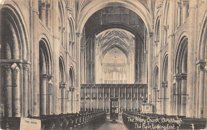 uk19125 priory church christchurch the nave real photo uk