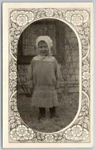 RPPC~Daves Girl Maxine~in Caplet Shaped Portal~Bonnet~Art Nouveau Mask~c1910