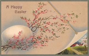 Easter~Huge Egg Nestled in Delicate Pink Blossom Branch~Pull Back~Emboss~Germany