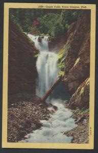 Provo Canyon Utah Wasatch Mountains Waterfall Scene View Vintage Postcard