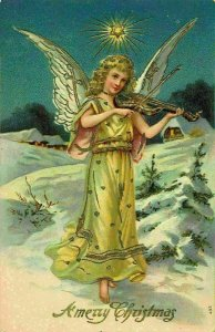A Merry Christmas Angel Playing Violin Embossed Postcard