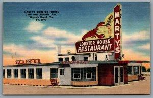 Postcard Virginia Beach VA c1940s Martys Lobster House Sea Food Restaurant Linen