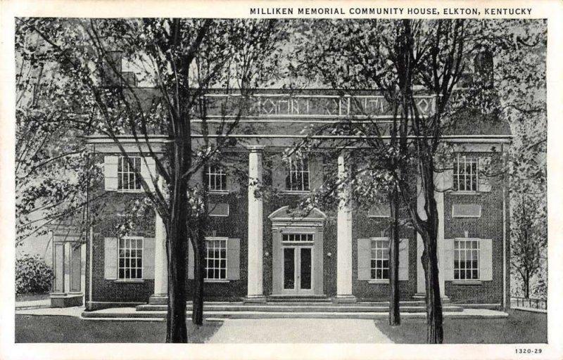 Elkton Kentucky Milliken Memorial Community House Vintage Postcard AA39535