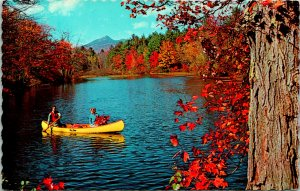 Canoeing on an Autumn Day in Canada Postcard unused 1969