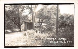 B80/ Eagleville Ohio Postcard RPPC '50 Covered Bridge Rood Photographer Signed!