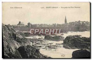 Postcard Old Emerald Coast Saint Malo Fort National Vue Prize