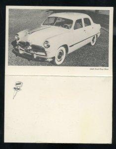 1949 FORD FOUR DOOR VINTAGE CAR DEALER ADVERTISING POSTCARD '49 FORD SHOEBOX