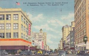 Florida St Petersburg Central Avenue Downtown Business Section 1951 Curteich