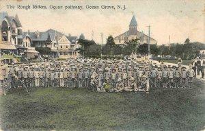 THE ROUGH RIDERS Ocean pathway Ocean Grove NJ 1909 Hand-Colored Vintage Postcard