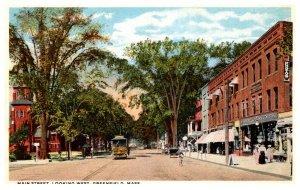 Massachusetts  Greenfield Main Street looking West , Trolley