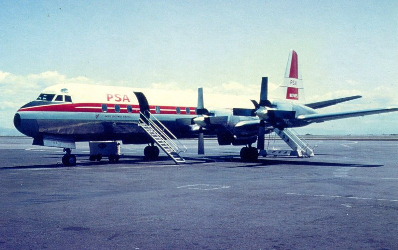 Pacific Southwest Airlines - Lockheed L-188  (AviationCards.com)