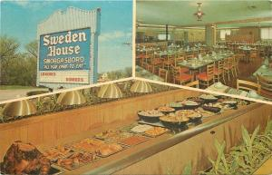 Naperville Illinois~Sweden House Smorgasbord~Inside Out~1950-60s Postcard