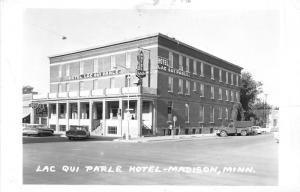 Madison Minnesota~Lac Qui Parle Hotel~Royal Cafe~1950s Truck in Street~RPPC