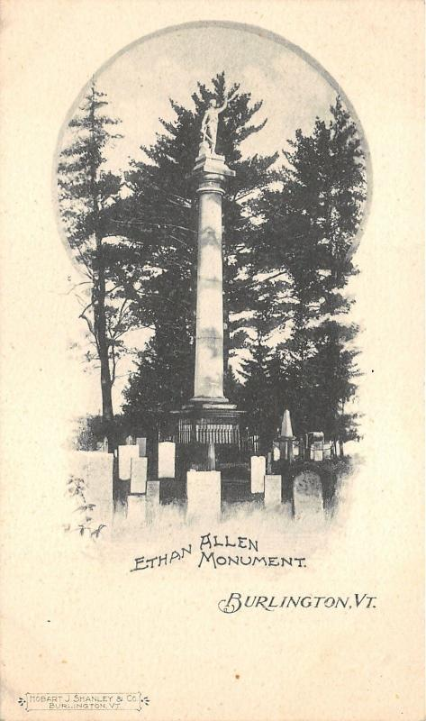 Burlington Vermont~Ethan Allen Monument~Graveyard~1898 Private Mailing Card