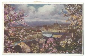 Steyr Ob Ost, View From The East PPC 1923 PMK, Shows River & Bridge