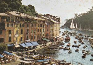 Italy Portofino Village Scene With Canal
