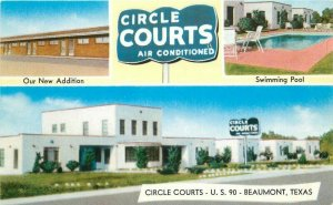 Beaumont Texas 1950s Circle Courts roadside Postcard Mosley 20-6607